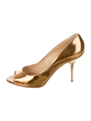 Giuseppe Zanotti Alien Metallic Peep-Toe Pumps w/ Tags