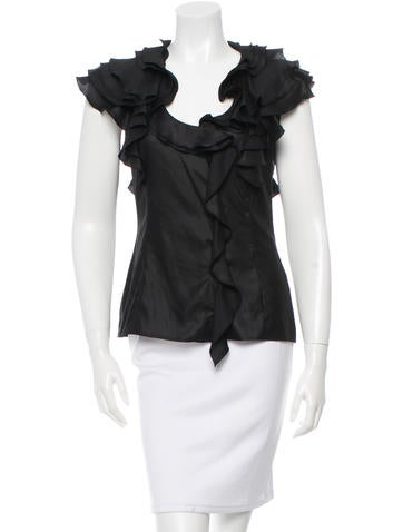 Givenchy Ruffle-Accented Button-Up Top None