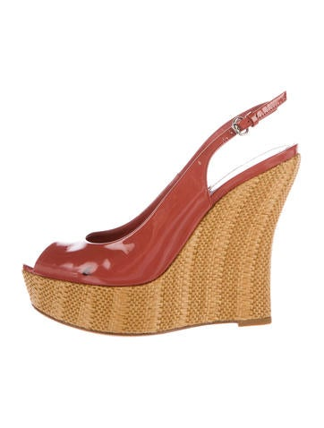 Gucci Peep-Toe Straw Wedges None