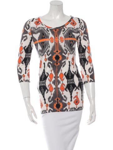 Gucci Cashmere & Silk-Blend Abstract Print Top None
