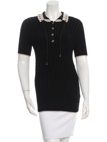 Gucci Wool Cable-Knit Short Sleeve Top None