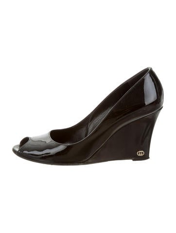 Gucci Patent Leather Peep-Toe Wedges None