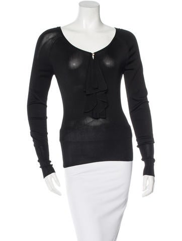 Gucci Ruffle-Trimmed Long Sleeve Top None