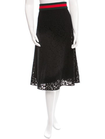Gucci 2016 Cluny Lace Skirt None