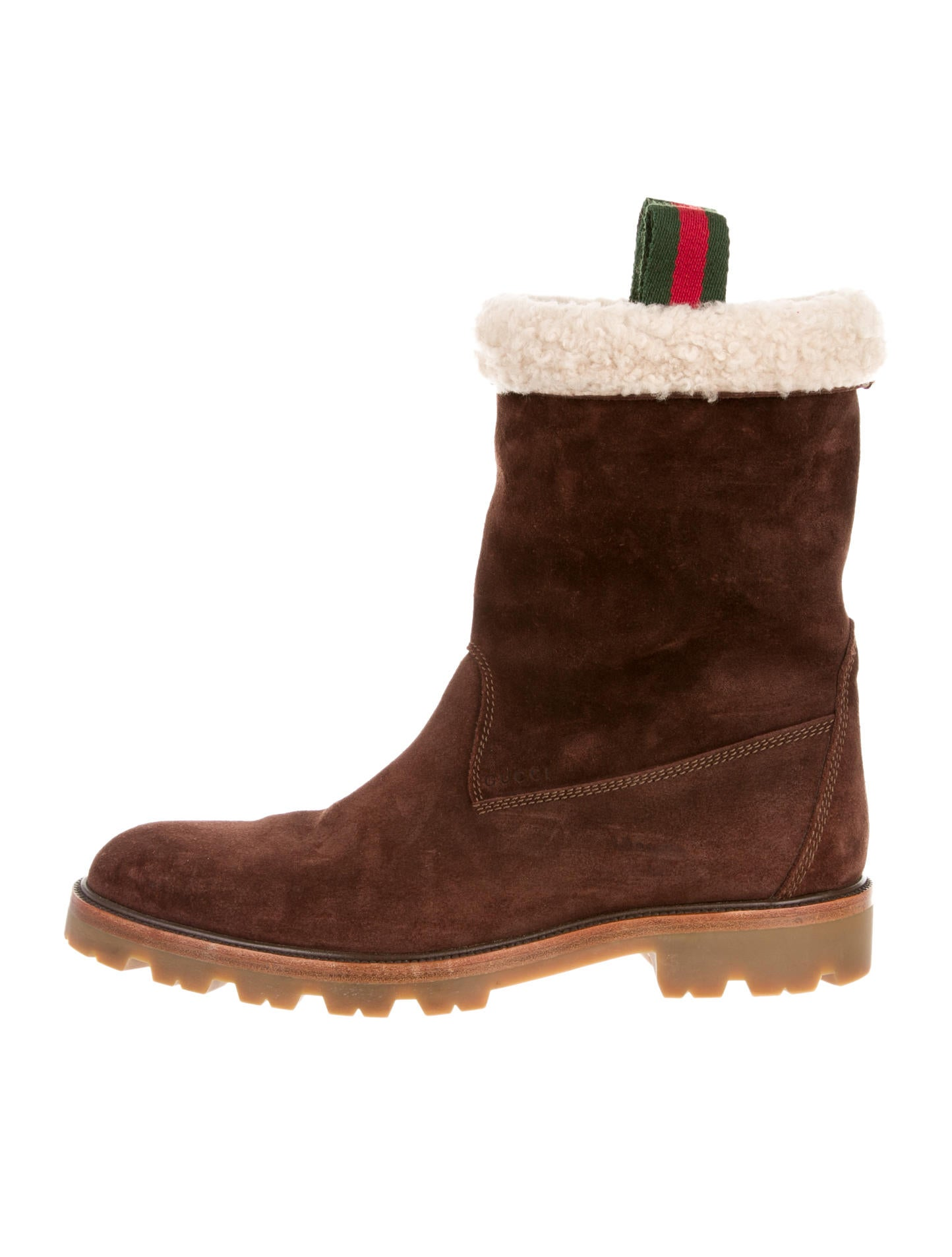 gucci shearling boots shoes guc54273 the realreal