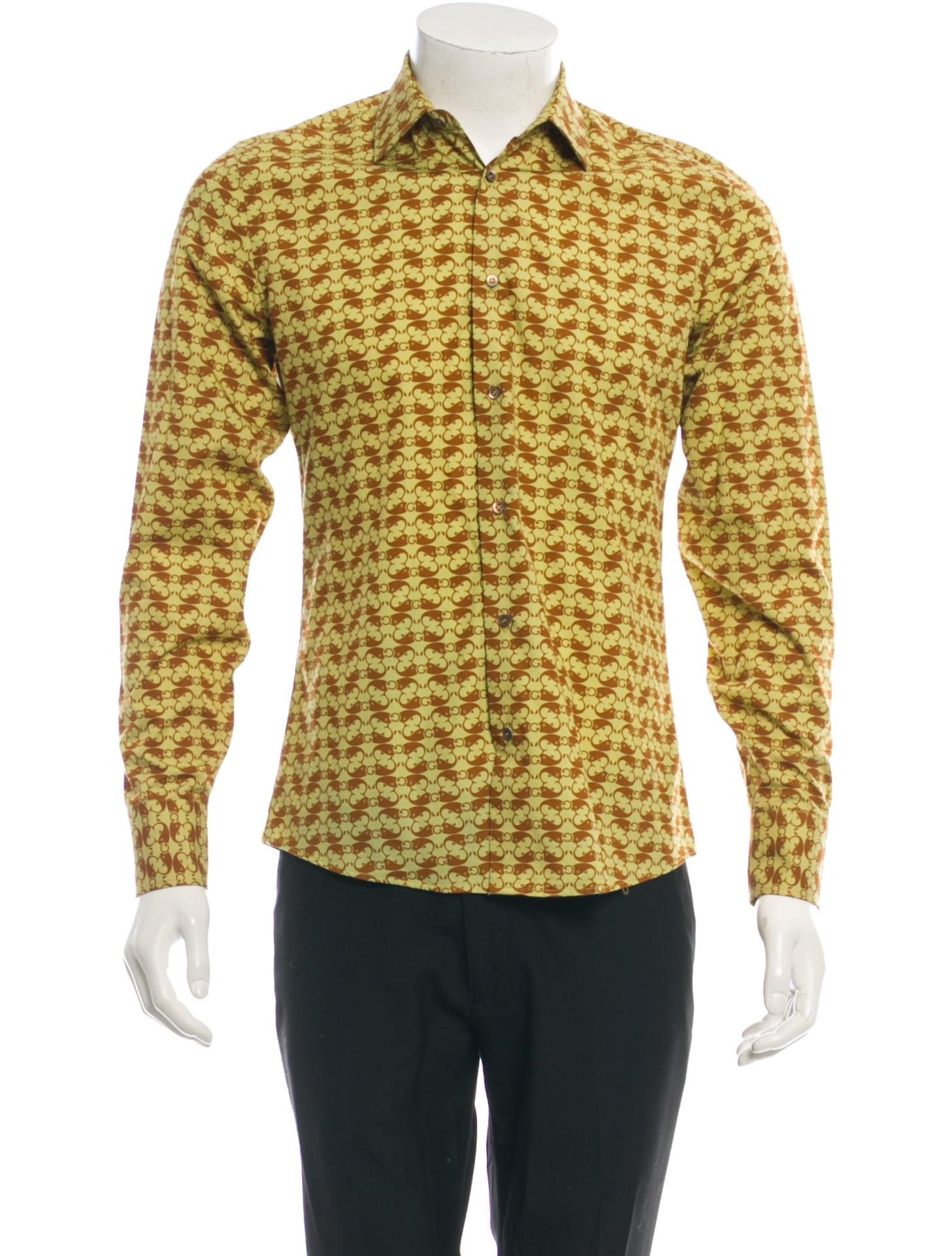 Gucci printed button up shirt mens shirts guc54656 for Printed shirts for mens