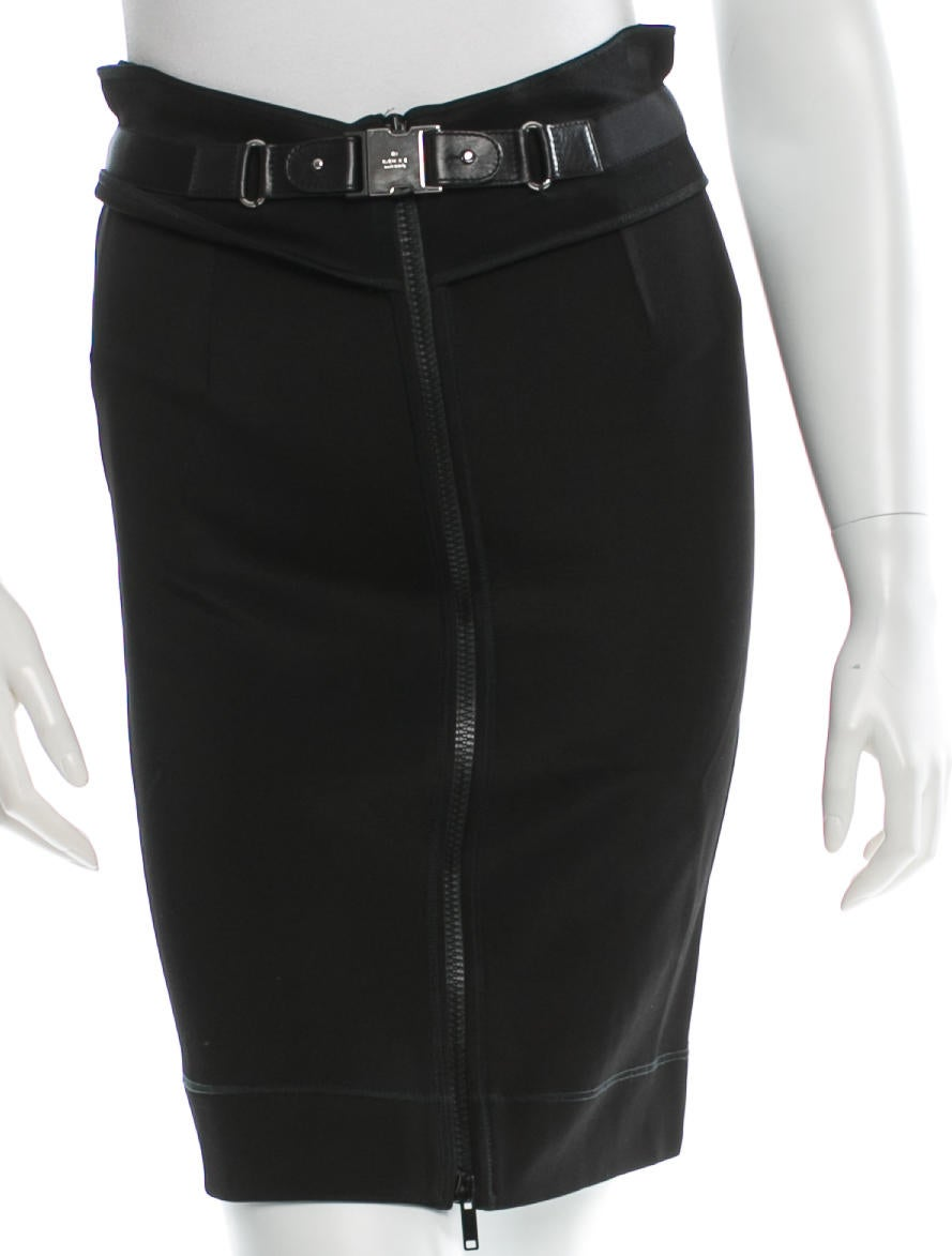 gucci leather trimmed pencil skirt skirts guc69196