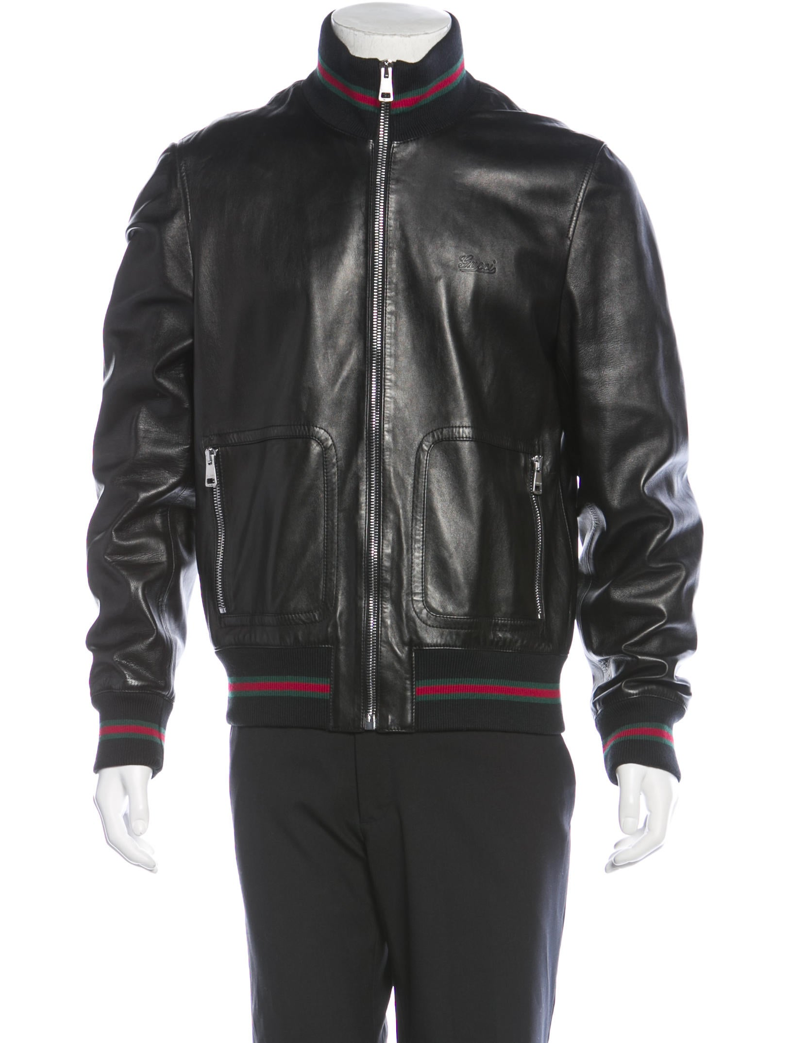 Gucci Web-Trimmed Leather Jacket - Clothing - GUC84071 ...