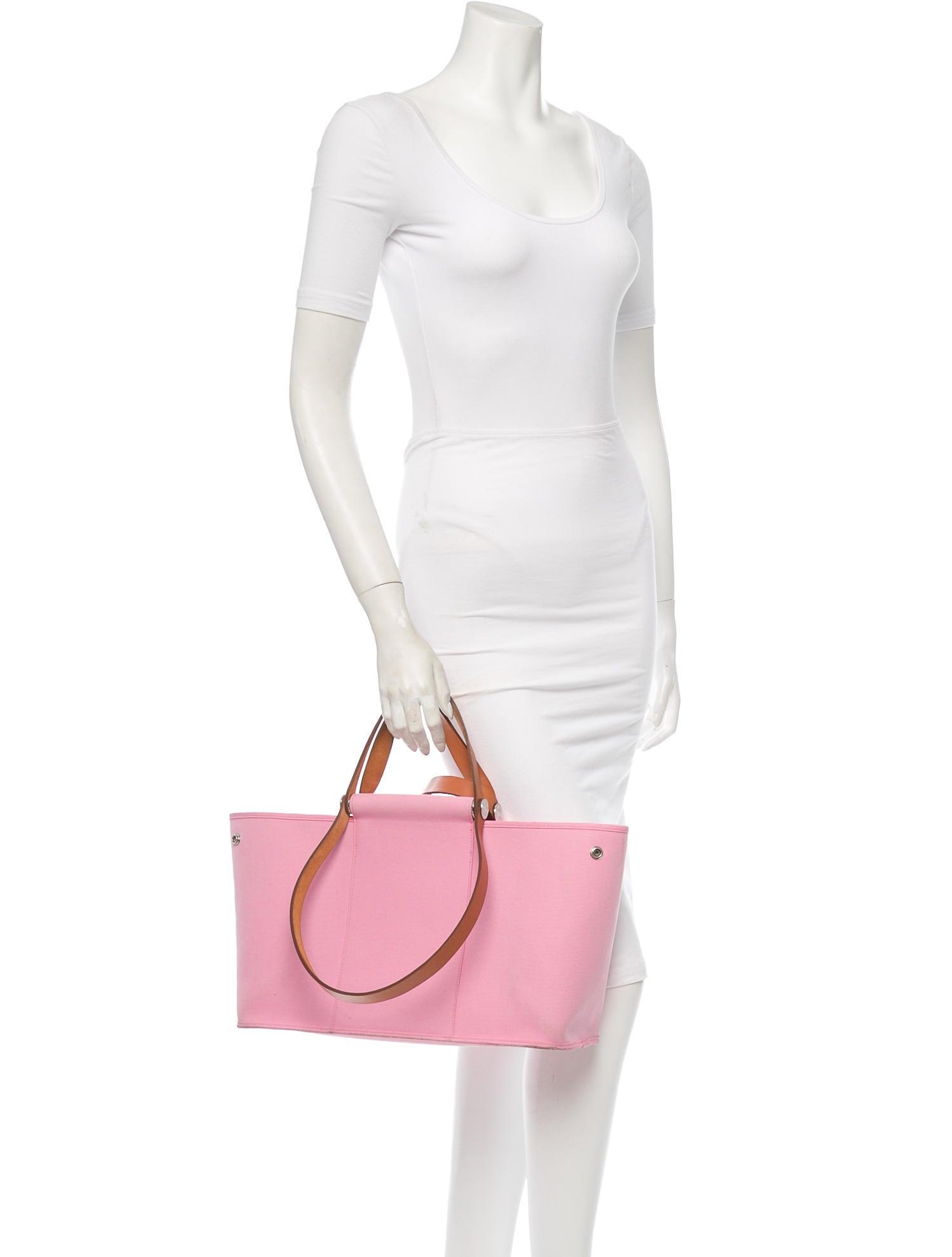 fake birkin bag - hermes pink canvas cabas elan top leather handle shoulder tote bag ...