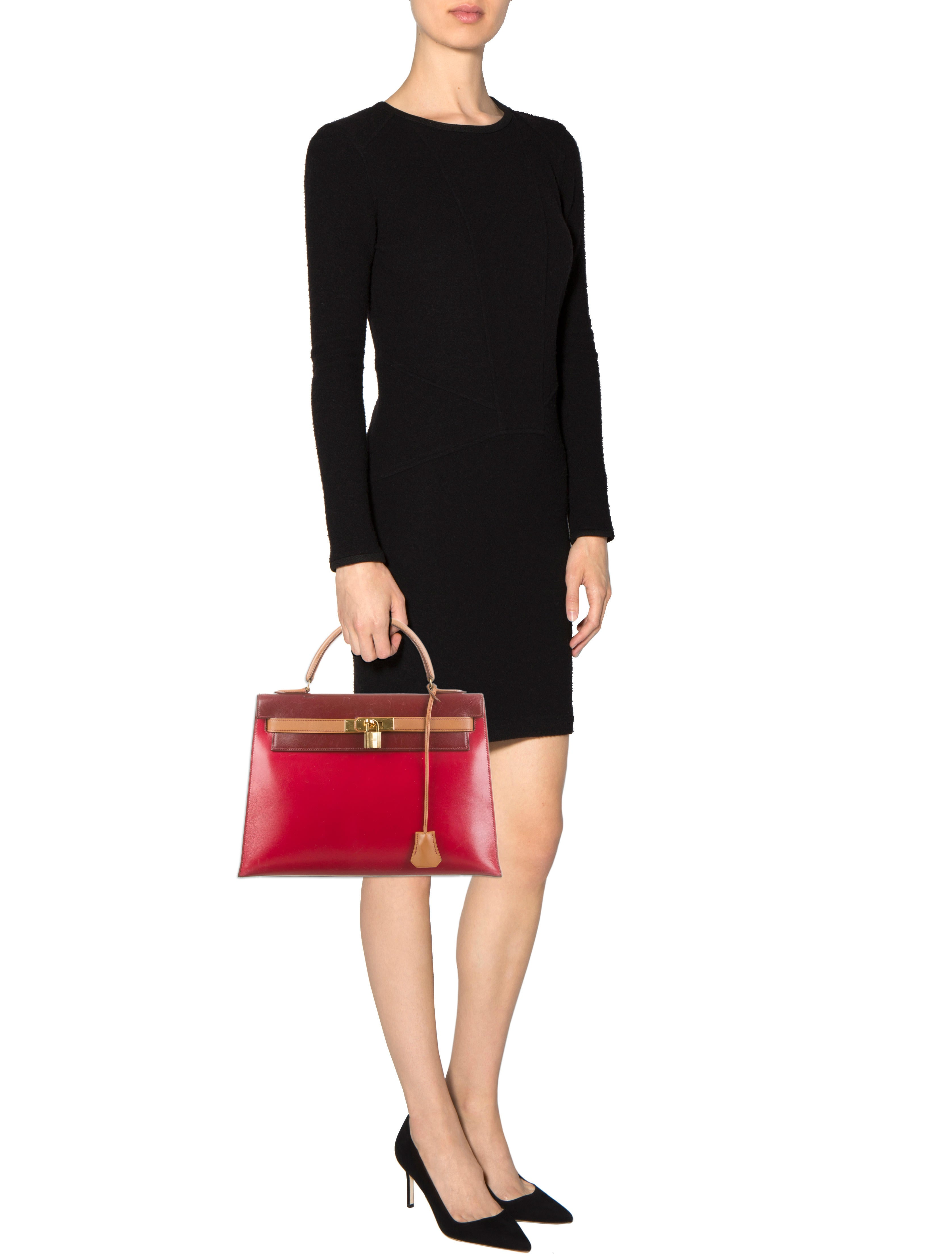 hermes paris handbags - hermes tri-color box leather sellier kelly 28cm, hermes handbags ...