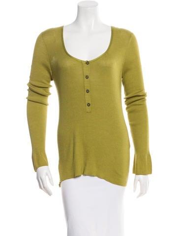 Hermès Long Sleeve Rib Knit Top None