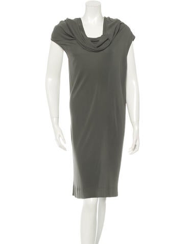 Hermès Draped Rib Knit Dress None