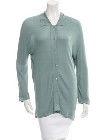 Hermès Rib Knit Button-Up Top None