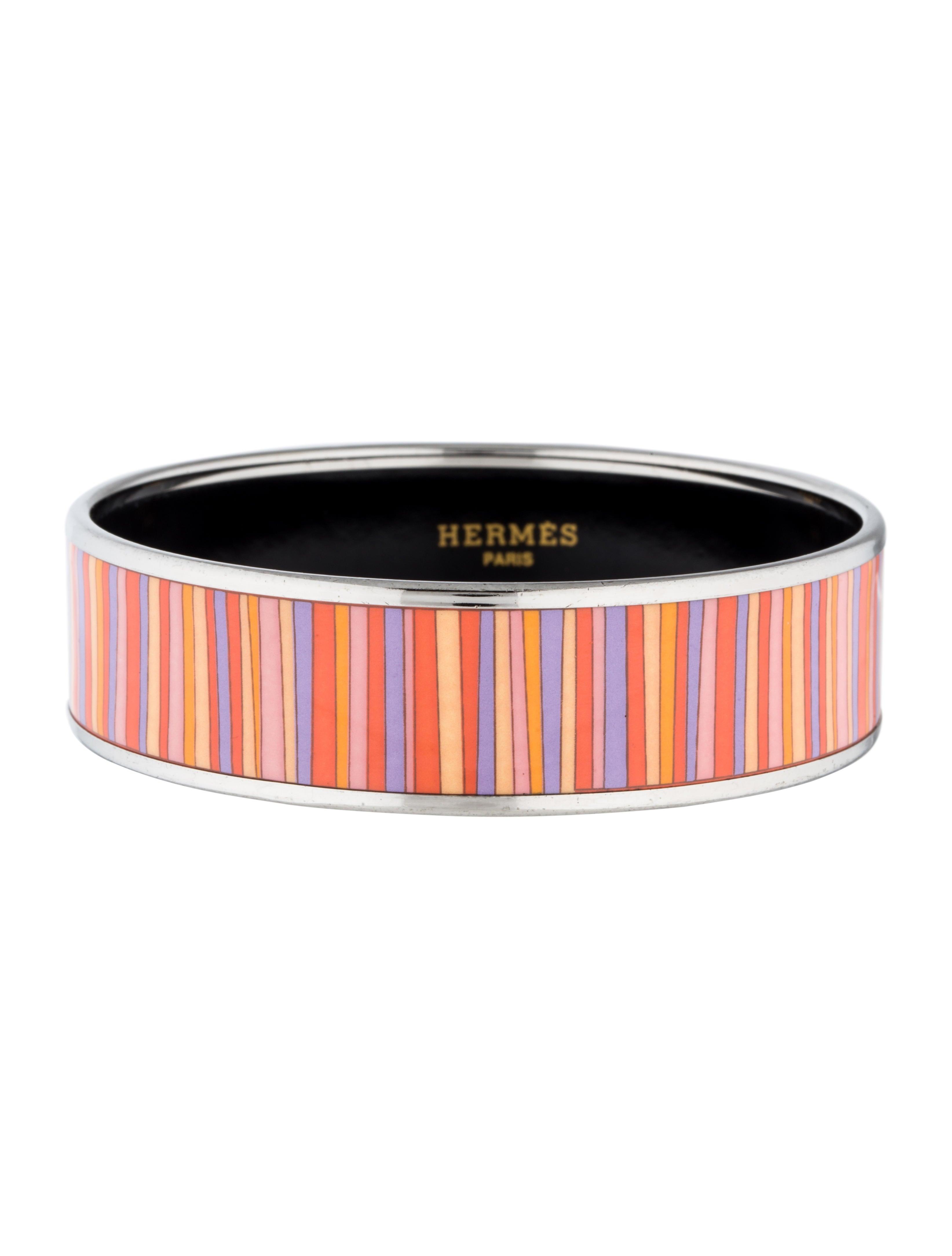 herm s wide enamel bangle bracelets her70958 the realreal. Black Bedroom Furniture Sets. Home Design Ideas