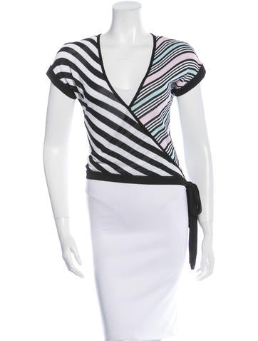 Herve Leger Striped Cropped Top None