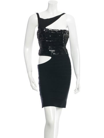 Herve Leger Sequin-Embellished Danna Dress None