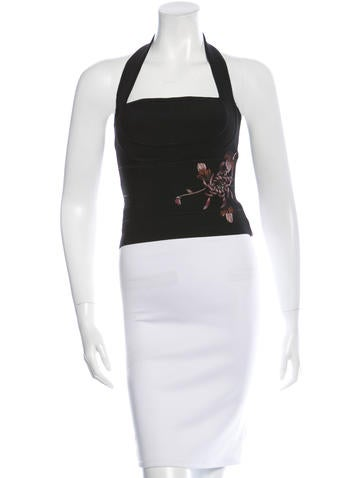 Herve Leger Embroidered Bandage Top None