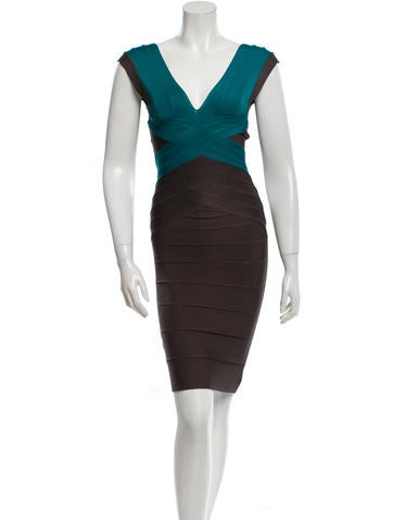 Herve Leger Two-Tone Bandage Dress None