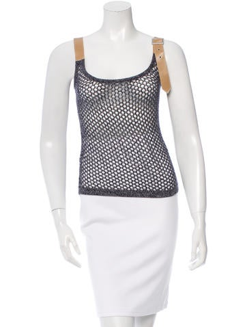 Herve Leger Leather-Trimmed Open Knit Top None