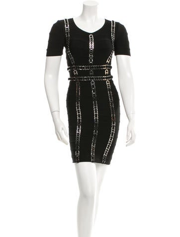 Herve Leger Embellished Bandage Dress None