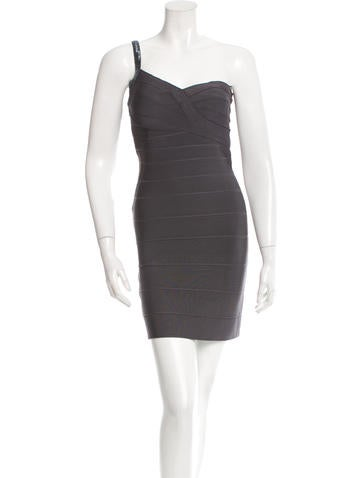 Herve Leger One-Shoulder Bandage Dress None