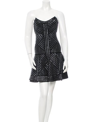 Herve Leger Solie Sequin Bandage Dress None