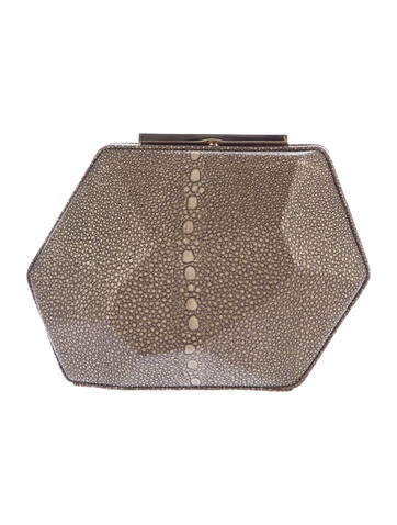 Herve Leger Embossed-Leather Minaudiere None