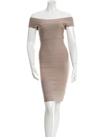 Herve Leger Off-Shoulder Bandage Dress None