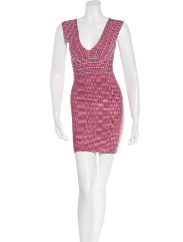 Herve Leger Patterned Bandage Dress None