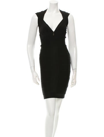 Herve Leger Bandage Plunging Neck Dress None