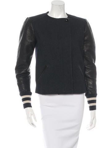Isabel Marant Leather-Trimmed Collarless Jacket None