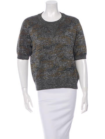 Isabel Marant Metallic-Accented Short Sleeve Sweter None