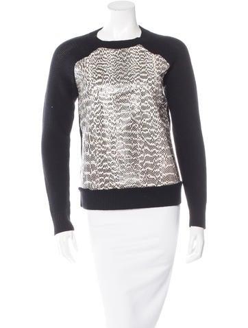 Jason Wu Snakeskin-Trimmed Wool Sweater None