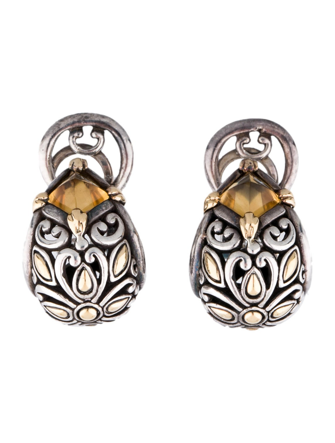 John hardy two tone citrine clip on earrings earrings for John hardy jewelry earrings