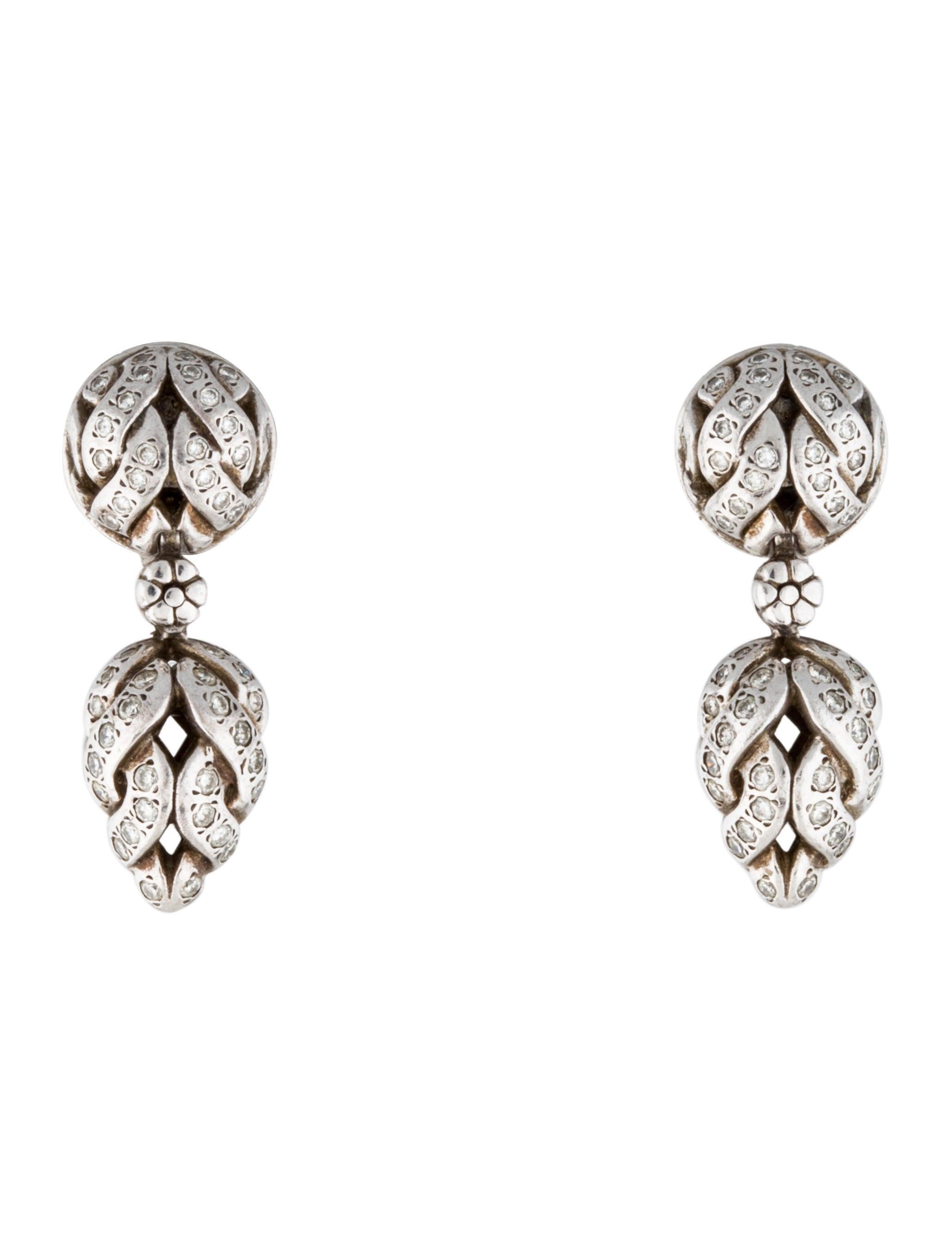 John hardy diamond drop earrings jewelry jha23117 for John hardy jewelry earrings