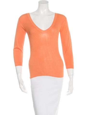 Jil Sander Rib Knit V-Neck Top None