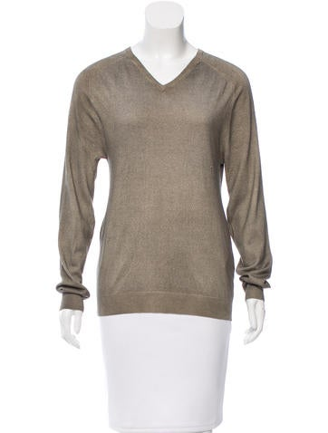 Jil Sander Silk V-Neck Sweater None