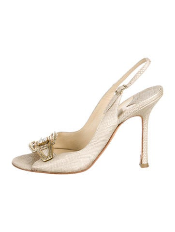 Jimmy Choo Embossed Embellished Pumps
