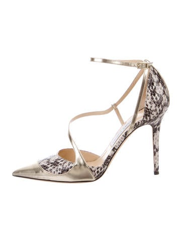 Jimmy Choo Snakeskin Mutya Pointed-Toe Pumps