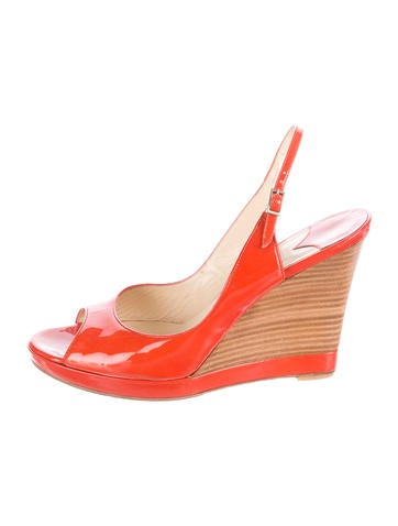 Jimmy Choo Patent Leather Slingback Wedges None