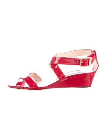 Jimmy Choo Multistrap Patent Leather Wedges None