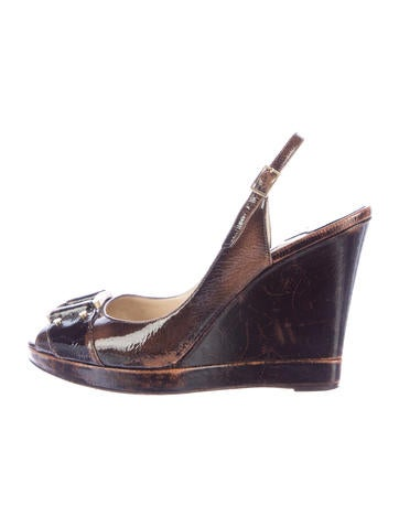 Jimmy Choo Distressed Patent Leather Wedges None