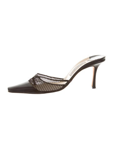 Jimmy Choo Mesh-Accented Pointed-Toe Mules None