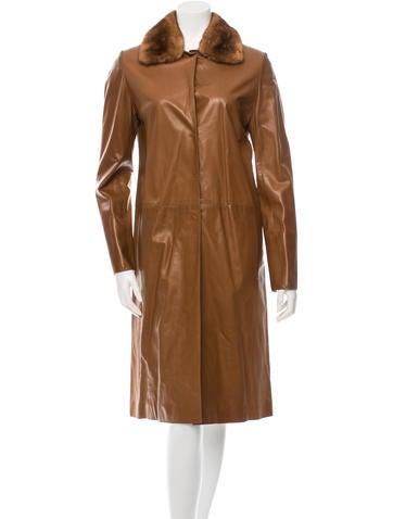 J. Mendel Fur-Trimmed Trench Coat