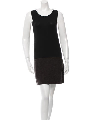 Joseph Tweed-Accented Wool Dress None