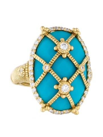 Judith Ripka 18K Turquoise and Diamond Cage Ring