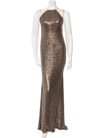 Kaufmanfranco Mesh-Trimmed Silk Gown None