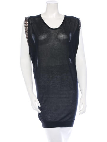 Lanvin Crystal Embellished Cashmere Tunic None