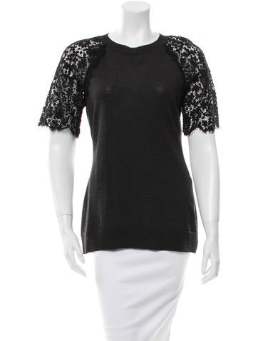 Lanvin Lace Sleeve Knit Top None