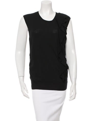 Lanvin Wool Ruffle-Trimmed Top None